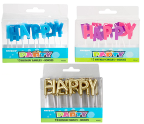 Happy Birthday Letter Candles - Blue, Gold or Pink
